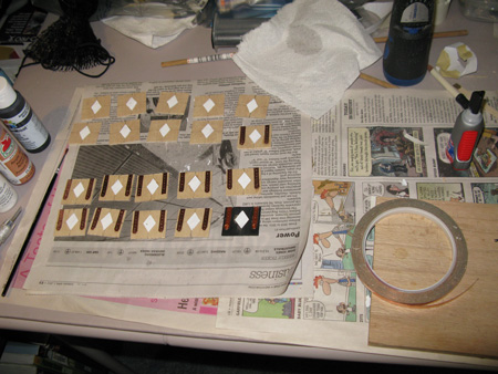 Basswood, copper tape, metal rings, plastic rhombus, paints and superglue.
