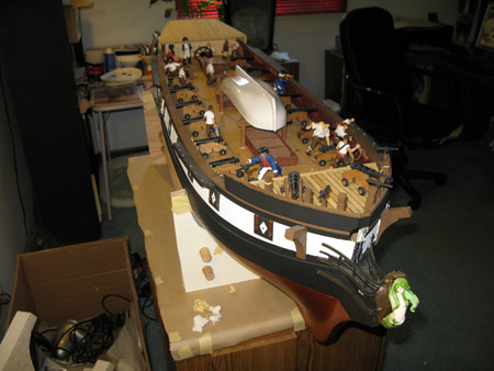 With gallows bitts in place I can see what she looks like with the boat.