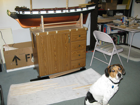 Boomer was suspiciously interested in my masts and spars.