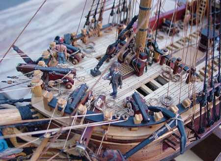 Two bow chasers?  Check out the four cannons on Guzman's nifty model of the colonial privateer Oliver Cromwell.
