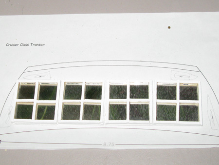 Philip emailed me a pic of the transom so I could get to work on some windows.