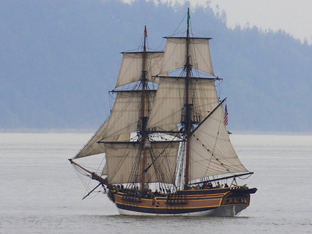 The brig Lady Washington (aka The Enterprise from the Star Trek movie.  If two masts were good enough for Captain Picard...)